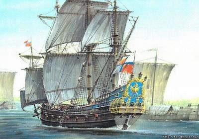 """První ruský válečný koráb """"Orel"""", spuštěný na vodu v roce 1668"""